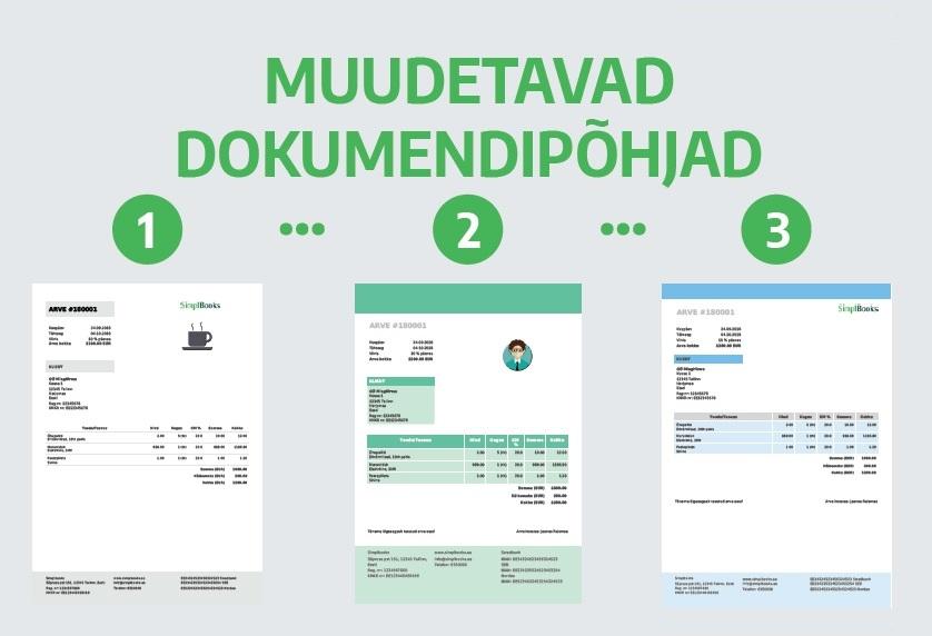 Muudetav arve kujundus SimplBooksis