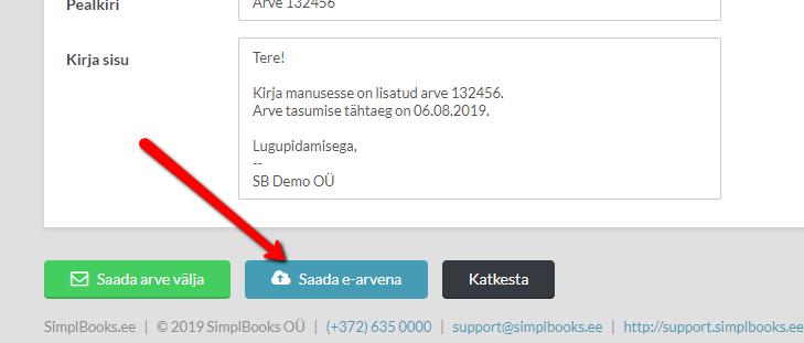 Tasuta e-arvete saatmine SimplBooks raamatupidamistarkvarast