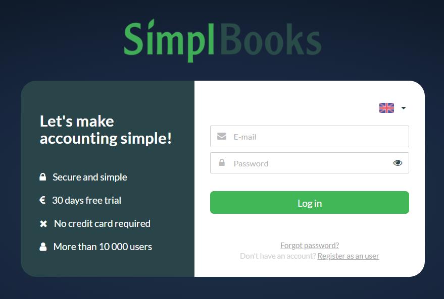 Registration form SimplBooks