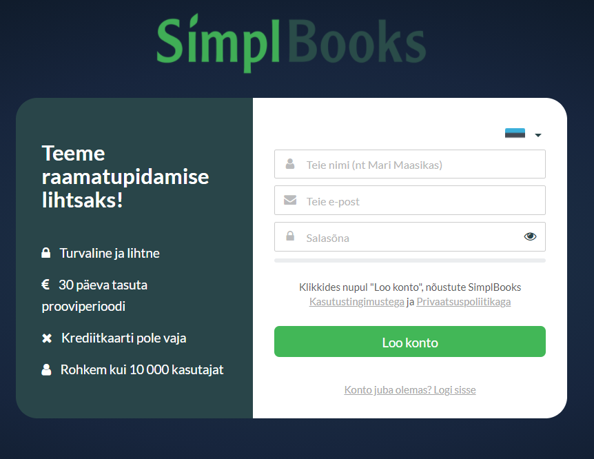 SimplBooks registreerimisvorm